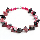 Classic Design Multi Color Solid Cutting Crystallized Agate Necklace