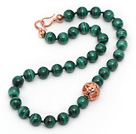 Wholesale Single Strand A Grade 12mm Round Malachite Beaded Knotted Necklace
