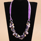 Fashion Purple Series Crystal Seashell Beads Necklace
