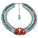 Multi Strands Round Turquoise and Red Coral and White Pearl and Agate Necklace with Extendable Chain