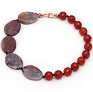 Wholesale Assorted Faceted Carnelian and Agate Slice Necklace with Black Agate Spacer Beads