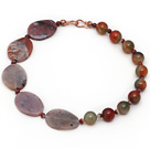 Strand Single Red Jasper et Peacock collier d'agate