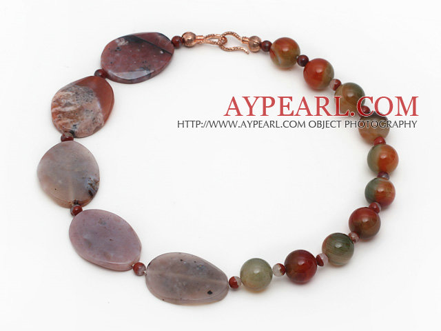 Single Strand Red Jasper and Peacock Agate Necklace