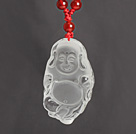 Wholesale Red Carnelian Necklace with Clear Crystal Laughing Buddha Pendant