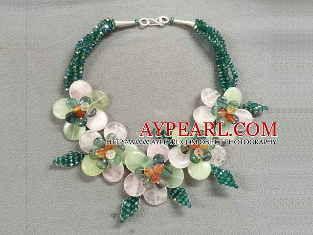 Fabulous Statement Party Style Multi Strand Green Crystal Rose Quartz Fluorite Flower Necklace