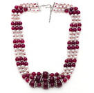 Wholesale Multi Strands White Freshwater Pearl and Purple Red Agate Necklace with Extendable Chain