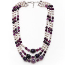 Wholesale Multi Strands White Freshwater Pearl and Purple Agate Necklace with Extendable Chain