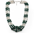 Wholesale Multi Strands White Freshwater Pearl and Green Agate Necklace with Extendable Chain