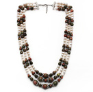 Multi Strands White Freshwater Pearl and Green Piebald Stone Necklace with Extendable Chain