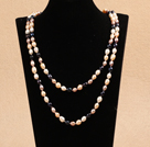 Chic Long Style Natural Multi Color Freshwater Pearl Necklace Best Gift
