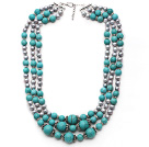 Multi Strands Gray Freshwater Pearl and Turquoise Necklace with Extendable Chain