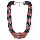 Wholesale Multi Strands Black Freshwater Pearl and Pink Cherry Quartz Necklace with Extendable Chain
