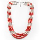 Multi Strands White Freshwater Pearl and Pink Coral Necklace with Extendable Chain