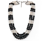 Multi Strands White Freshwater Pearl and Black Agate Necklace with Extendable Chain
