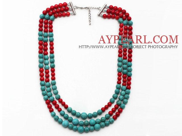 Multi Strands Red Coral and Turquoise Necklace with Extendable Chain