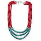 Wholesale Multi Strands Round Red Coral and Turquoise Necklace with Extendable Chain