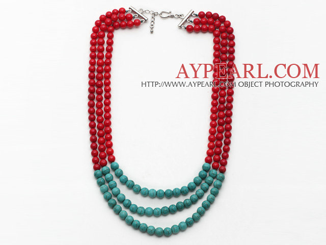 Multi Strands Round Red Coral and Turquoise Necklace with Extendable Chain