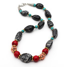Assorted Turquoise and Alaqueca and Network Stripe Stone Necklace