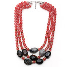 Multi Strands Pink Series Round Cherry Quartz and Irregular Shape Crystallized Agate Necklace with Extendable Chain