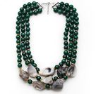 Wholesale Multi Strands Green Series Green Agate and Irregular Shape Gray Agate Necklace with Extendable Chain