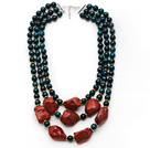 Multi Strands Black Green Series Phoenix Stone and Irregular Shape Red Jasper Necklace with Extendable Chain