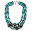 Wholesale Multi Strands Round Turquoise and Irregular Shape Black and White Agate Necklace with Extendable Chain