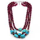 Multi Strands Purple Red Agate and Irregular Shape Blue Turquoise Necklace with Extendable Chain