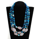 Multi Strands Dark Blue Series Blue Agate and Irregular Shape Rose Quartz Necklace with Extendable Chain