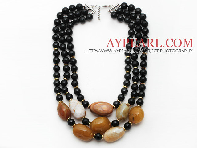 Multi Strands Black Series Black Agate and Irregular Shape Yellow Color Agate Necklace with Extendable Chain
