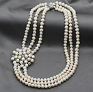 Fashion Style Multi Strands 7-8mm White Freshwater Pearl Bridal Necklace with Pearl Rhinestone Flower