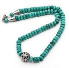 Single Strand Abacus Shape Faceted Green Turquoise Necklace with Round Metal Ball