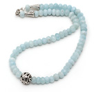 Wholesale Single Strand Abacus Shape Faceted Aquamarine Necklace with Round Metal Ball