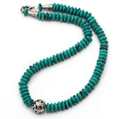 Single Strand Abacus Shape Xinjiang Turquoise Necklace with Round Metal Ball