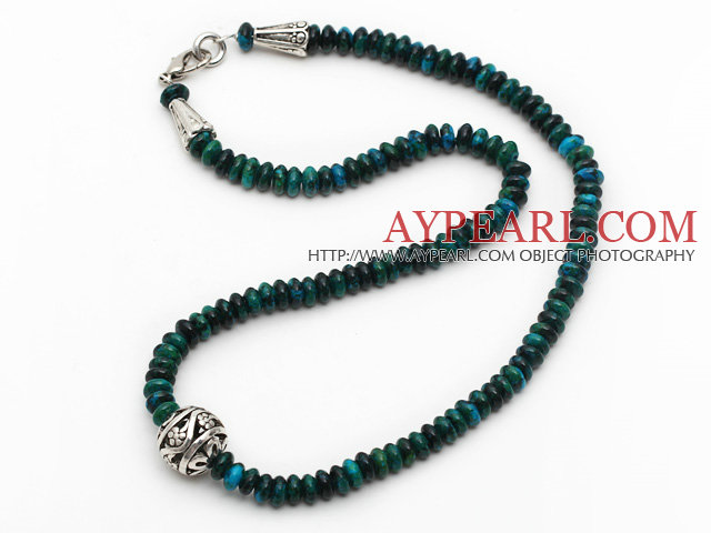 Single Strand Abacus Shape Phoenix Stone Necklace with Round Metal Ball