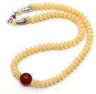 Single Strand Abacus Shape Synthetic Yellow Beeswax Necklace