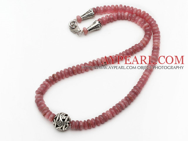 Single Strand Abacus Shape Pink Color Argentina Red Jasper Necklace with Round Metal Ball