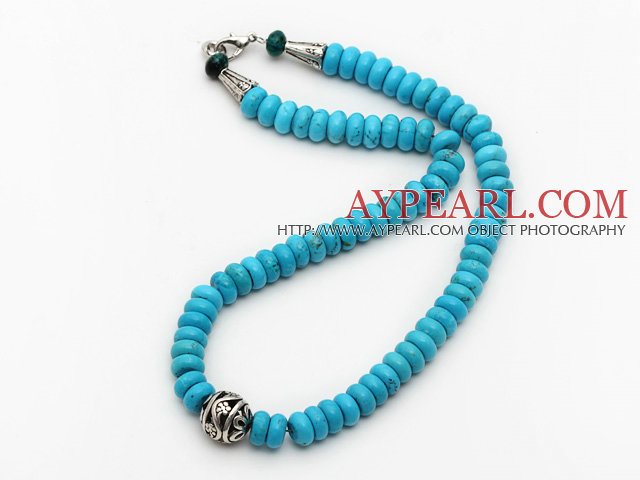 Single Strand Abacus Shape Blue Turquoise Necklace with Round Metal Ball