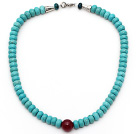 Wholesale Single Strand Abacus Shape Xinjiang Turquoise Beaded Necklace with Carnelian