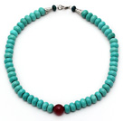 Wholesale Abacus Shape Xinjiang Turquoise Beaded Necklace with Carnelian