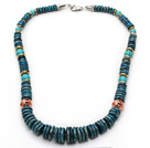 Medium Long Style Disc Shape African Turquoise Graduated Necklace