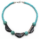 Wholesale Assorted Turquoise and Half Moon Shaped Black Agate Necklace