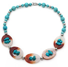 Wholesale Assorted Turquoise and Agate Donut Necklace with Metal Spacer Beads