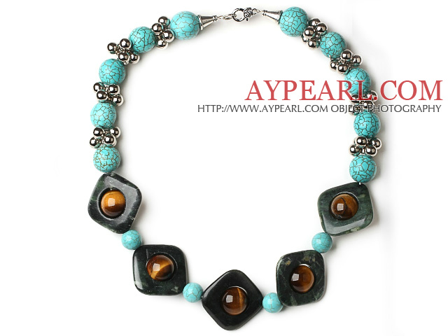 Assorted Turquoise and Tiger Eye and Network Stone Necklace with Metal Spacer Beads