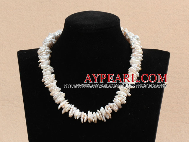 Popular Style Natural Irregular Shape White Rebirth Pearl Choker Necklace With Magnetic Clasp
