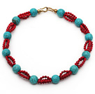 Assorted Round Turquoise and Red Coral Necklace with Yellow Color Metal Clasp