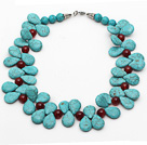 New Design Fashion Style Teardrop Turquoise and Carnelian Necklace