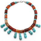 Wholesale Cylinder Shape Carnelian and Round Turquoise Necklace with Lobster Clasp