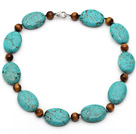 Oval Shape Turquoise and Round Tiger Eye Necklace with Lobster Clasp