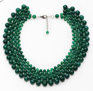 Wholesale Elegant Style Faceted Green Agate Crocheted Graduated Choker Necklace with Extendable Chain