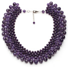 Elegant Style Purple Color Faceted Amethyst Graduated Choker Necklace with Extendable Chain